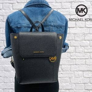 NWT Michael Kors Hayes Black Leather Backpack Bag